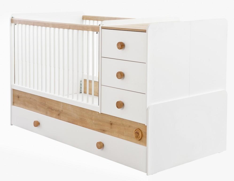 Cilek NATURA BABY Babybett XL mitwachsend Kinderbett Bett Weiß / Natur mit Matratze Bild 1