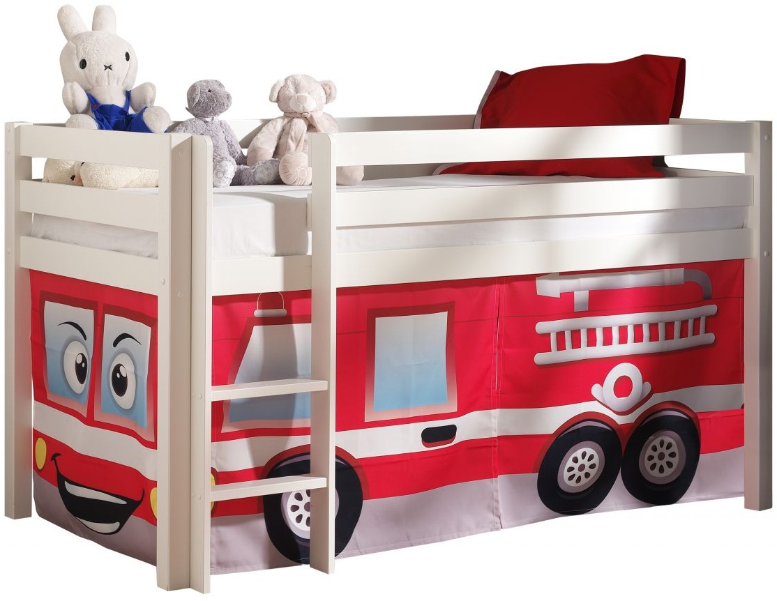 Vipack 'Pino' Spielbett, Weiß, mit Vorhang 'Feuerwehr', 90x200 cm, inkl. Lattenrost Bild 1