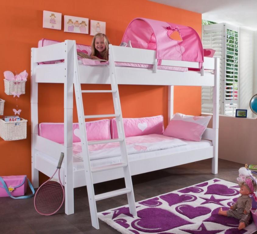 Relita 'Stefan' Etagenbett weiß inkl. Tunnel 'Pink/Rosa' und Matratzen Bild 1