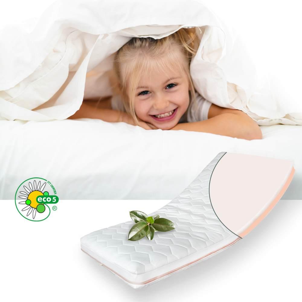 Babymatratze Latex 2 Härten 10 cm mit 4 Seiten Reißverschluß mit Silberfaden optional Trittkante 90x200 cm ohne Trittkante Bild 1
