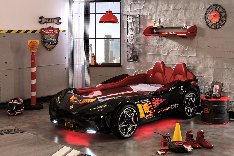 Cilek 'GTS' Autobett schwarz, mit LED-Beleuchtung und Sound Bild 1