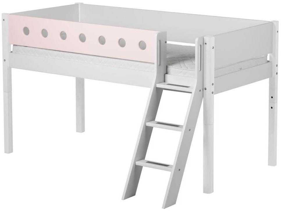 Flexa 'White' Halbhochbett weiß/rosa, schräge Leiter, 90x200cm Bild 1