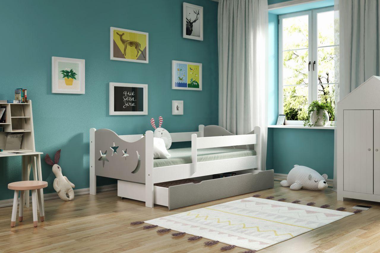 Kinderbettenwelt 'Chrisi' Kinderbett 70x140 cm, Grau/Weiß, Kiefer massiv, inkl. Schublade, Lattenrost und Matratze Bild 1