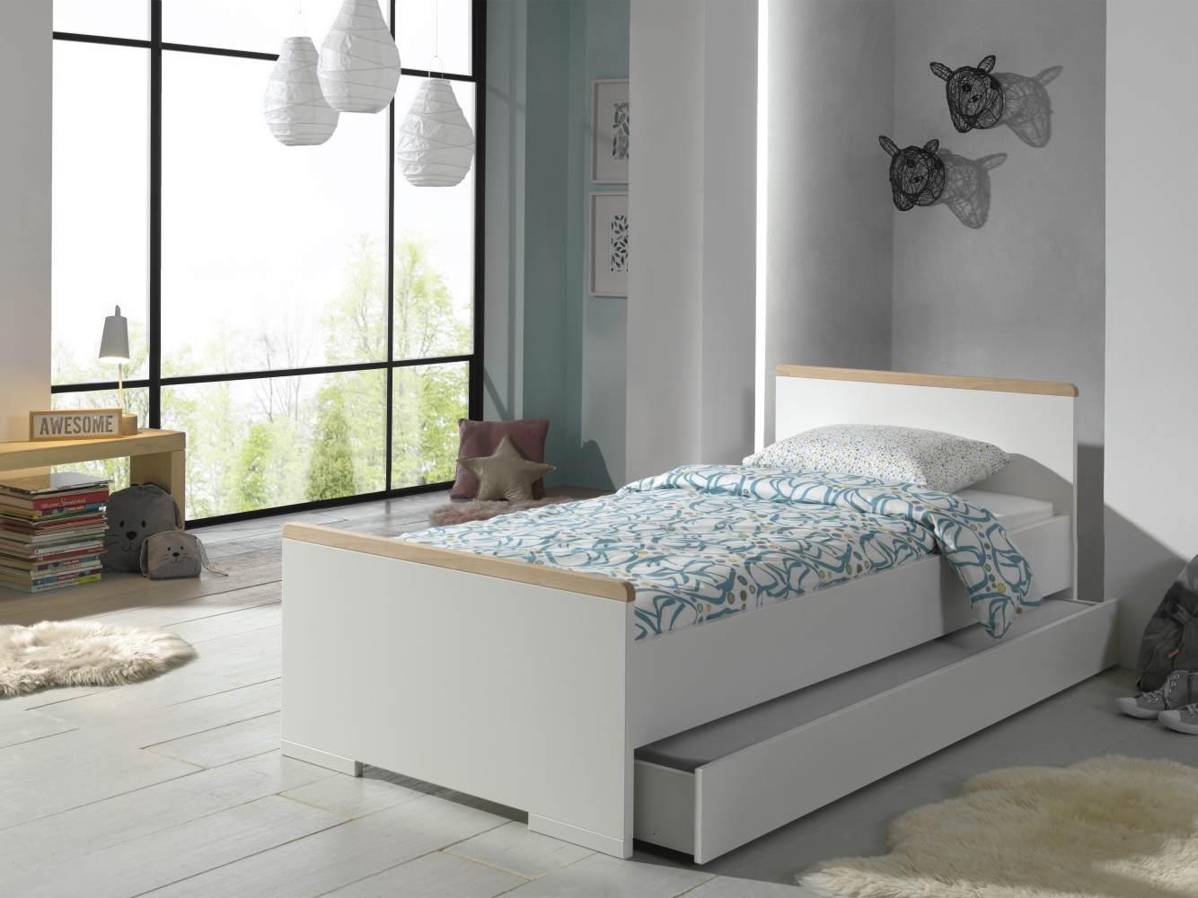 Vipack 'London' Einzelbett inkl. Bettschublade 90 x 200 cm Dekor Weiß/Absatz Buche natur massiv Bild 1