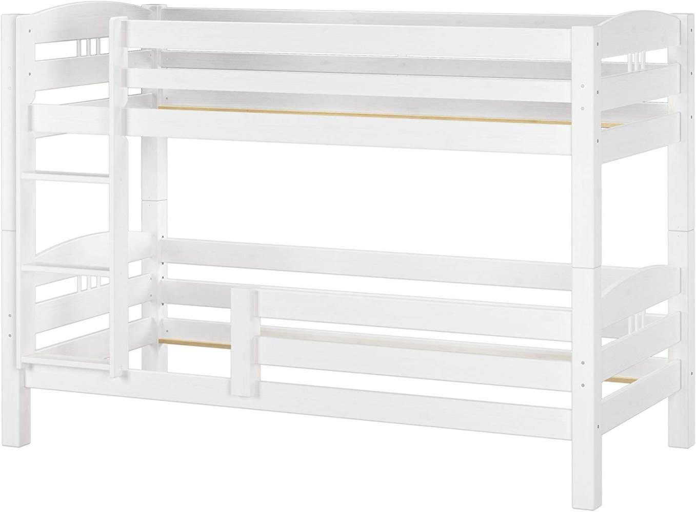 Erst-Holz Etagenbett Kiefer weiß 90x200 inkl. Fallschutz Bild 1