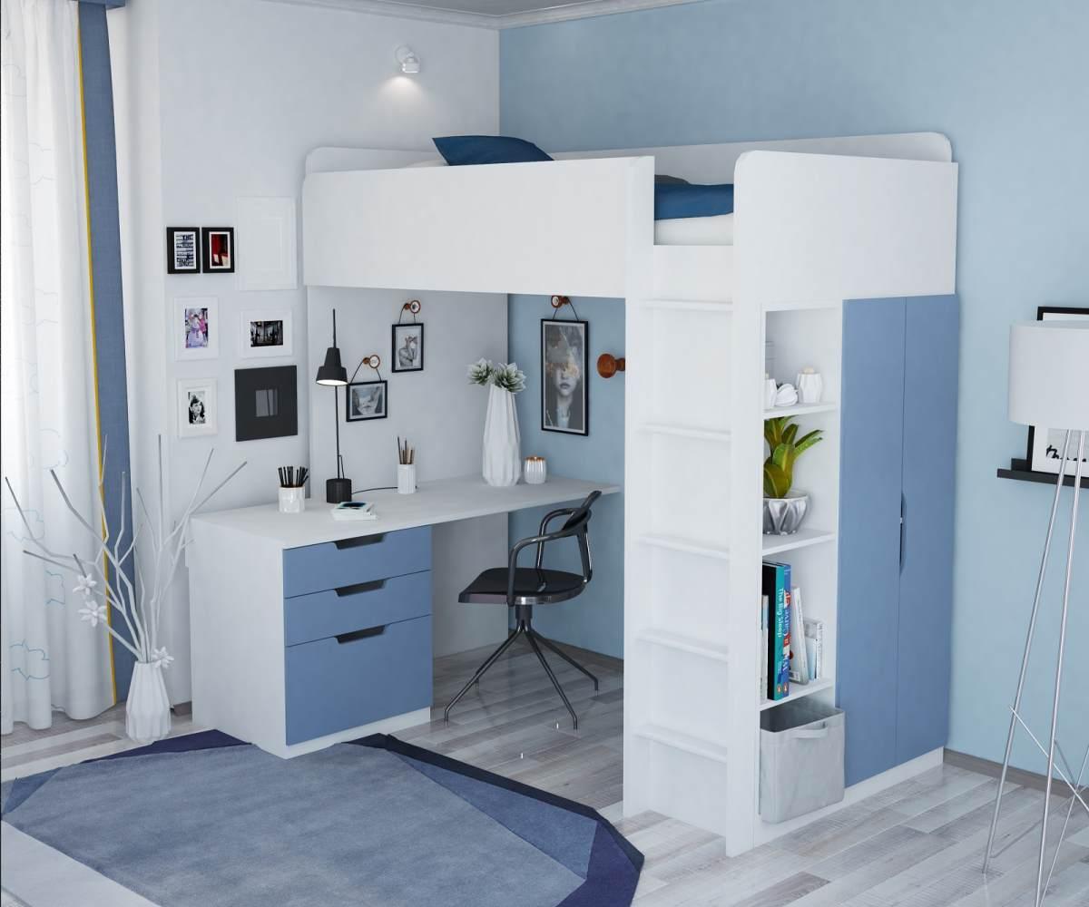 Polini Kids Funktions-Hochbett weiß/blau, inkl.Kleiderschrank und Schreibtisch Bild 1