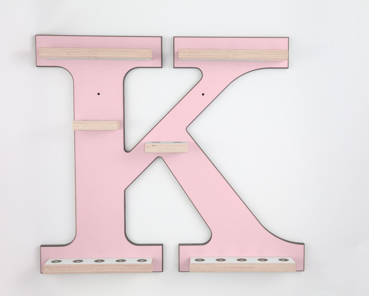 Schreinerei Linden 'Buchstabe K' Tonie Regal ohne Musikboxhalter, rosa Bild 1