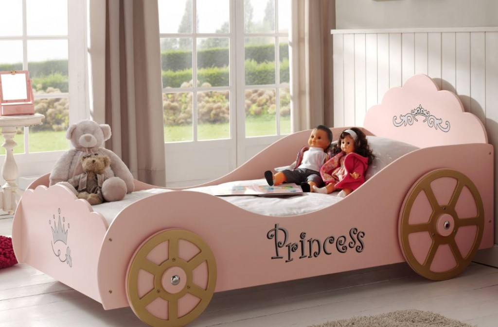 Princess Rosay Kutschenbett Kinderbett Spielbett Bett 90x200 cm Rosa, inkl. Matratze Basic Bild 1