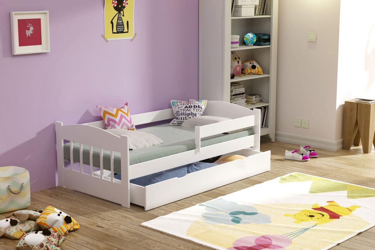 Kinderbettenwelt 'Maja' Kinderbett 80x160 cm, Weiß, inkl. Matratze und Schublade Bild 1