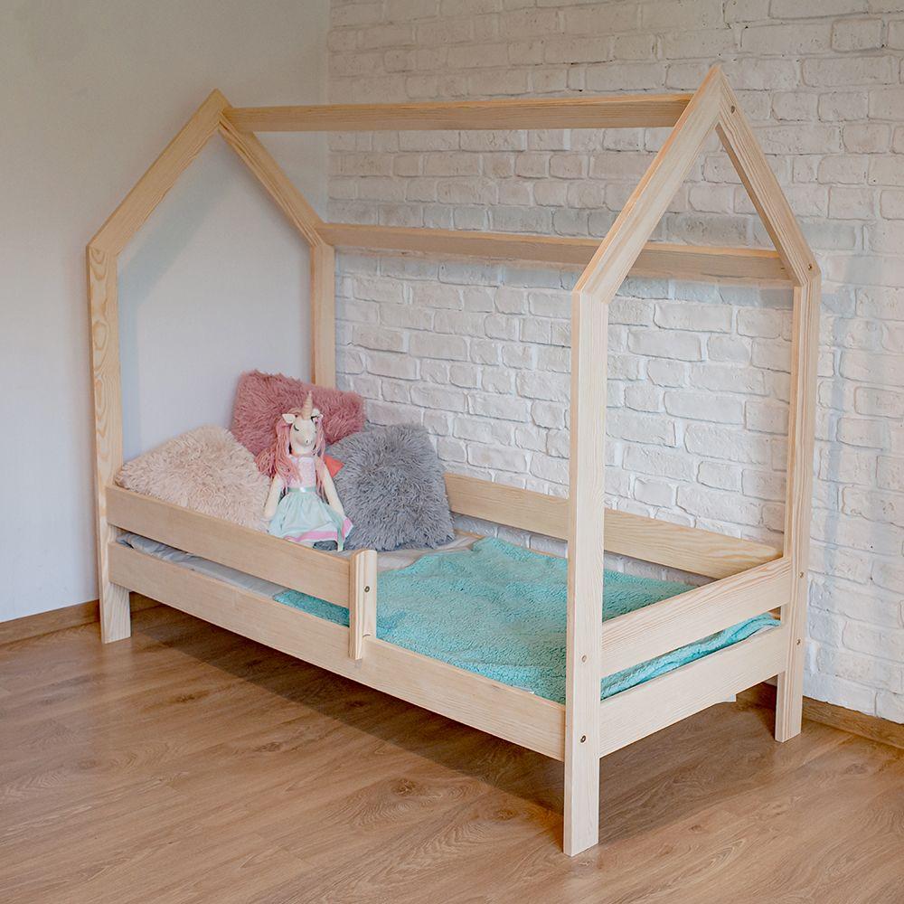 Kinderbettenwelt 'Sweety' Hausbett 80x160 cm, Natur, Kiefer massiv, inkl. Rollrost und Matratze Bild 1