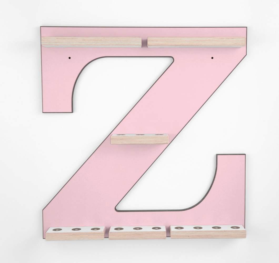 Schreinerei Linden 'Buchstabe Z' Tonie Regal ohne Musikboxhalter, rosa Bild 1