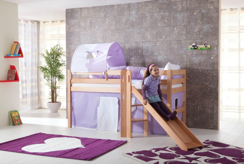 Relita 'Eliyas' Spielbett natur inkl. Rutsche und Textilset Vorhang, 1-er Tunnel und Tasche 'purple/weiß/herz' Bild 1