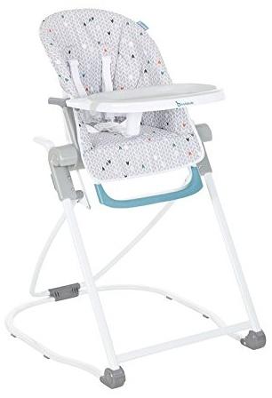 Badabulle B010700 Kompakter Hochstuhl, mitwachsender Kinderhochstuhl, Babyhochstuhl, 5-fach höhenverstellbar, einfach zusammenzuklappen, mit großem Esstisch, mehrfarbig Bild 1