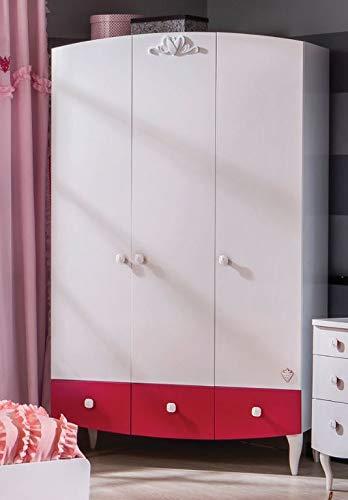 cilek 'Yakut' Kleiderschrank weiß/pink, mit LED Beleuchtung Bild 1