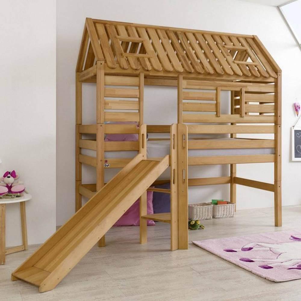 Relita Hausbett Spielbett BERGEN-13 mit Rutsche Buche massiv geölt Bild 1