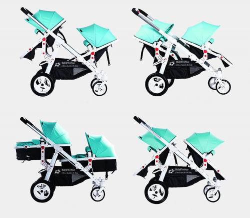 Babyfivestar Geschwisterwagen / Zwillingswagen Türkis Bild 1