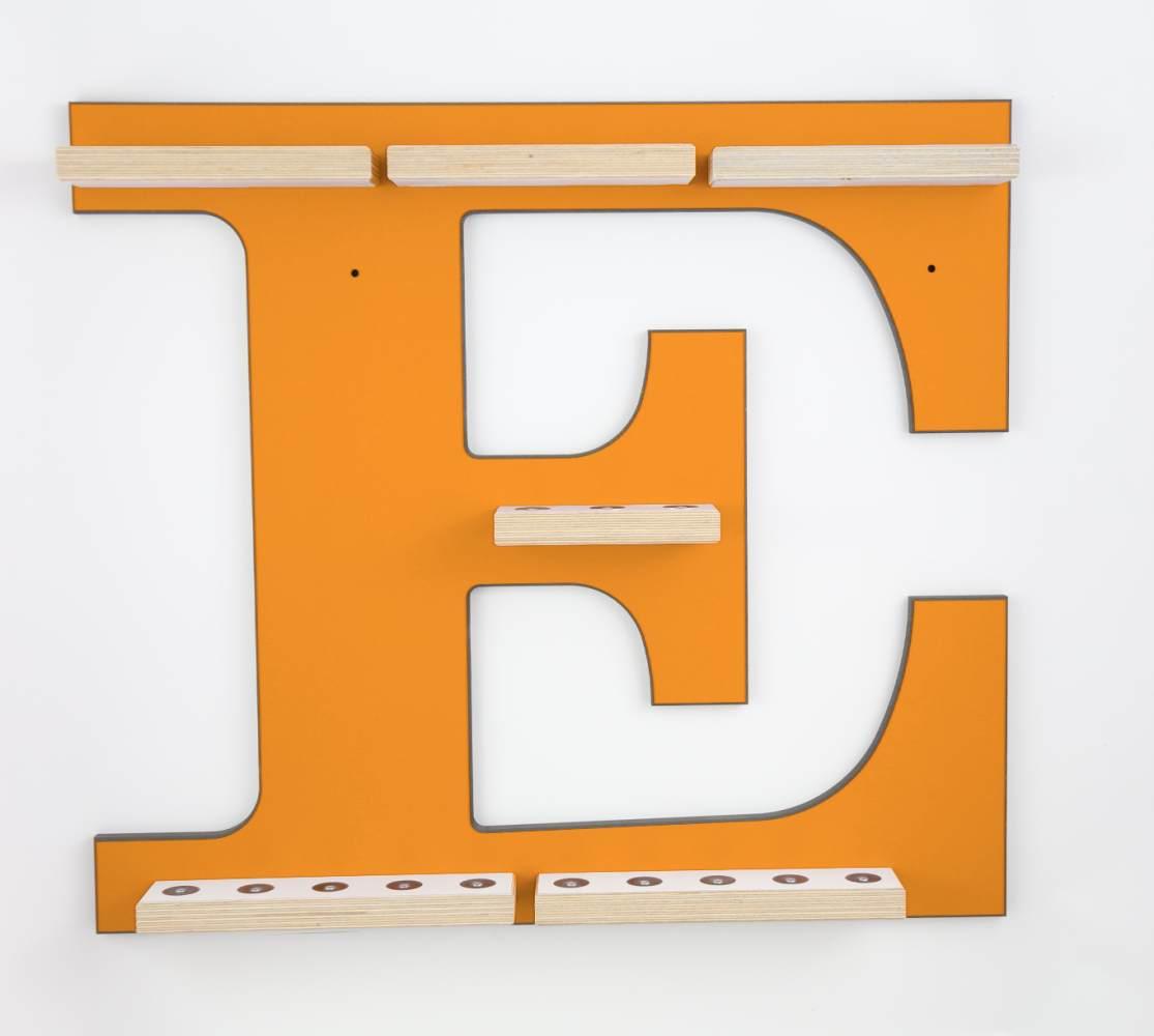 Schreinerei Linden 'Buchstabe E' Tonie Regal ohne Musikboxhalterung, orange Bild 1