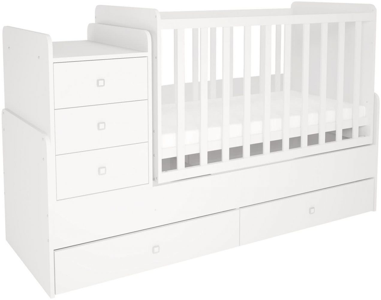 Polini Kids 'Simple 1100' Kombi-Kinderbett 60 x 120/170 cm, weiß, höhenverstellbar, mit Schaukelfunktion, inkl. Kommode Bild 1