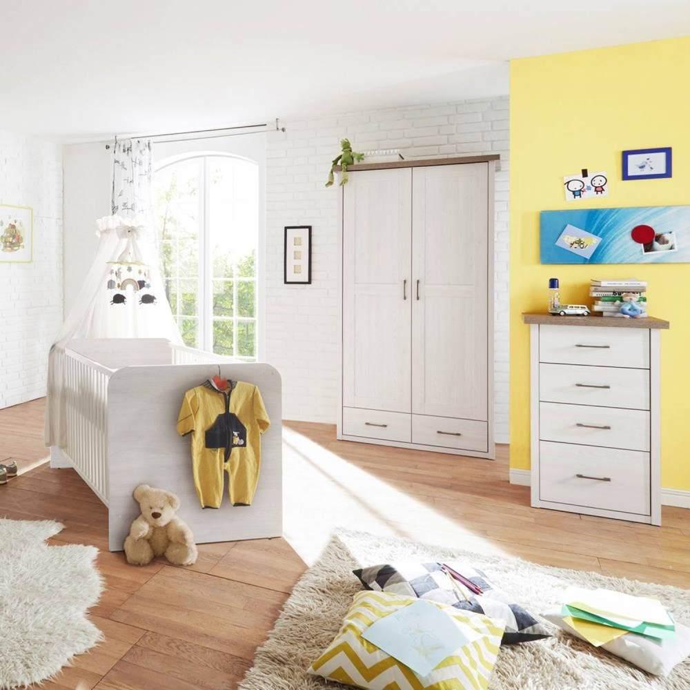 Babyzimmer Möbel LUND-78 im Set, Landhaus Design, Pinie weiß Nb. /Trüffel Eiche Nb. Bild 1