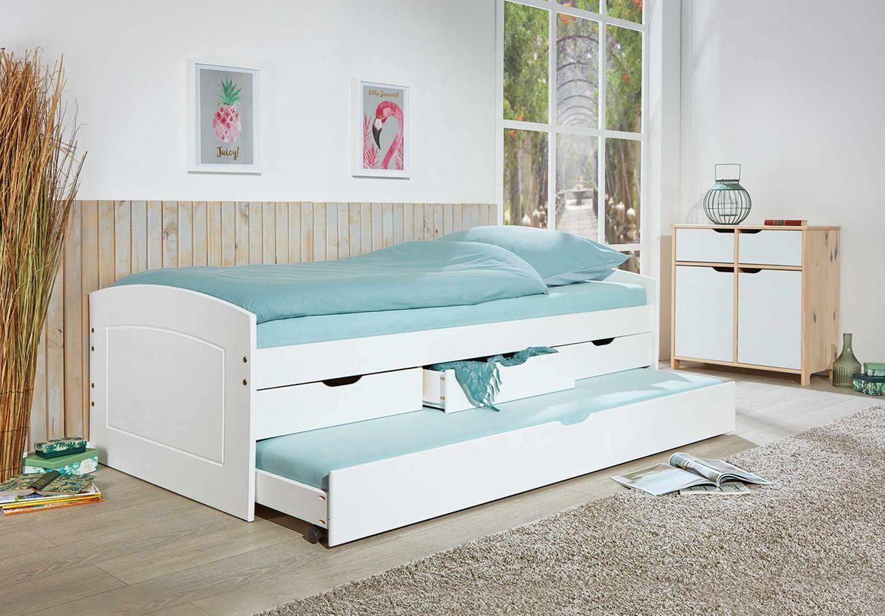 Interlink Kinderbett 'RIEKA' weiß, 90x200cm inkl. Schubladen Bild 1