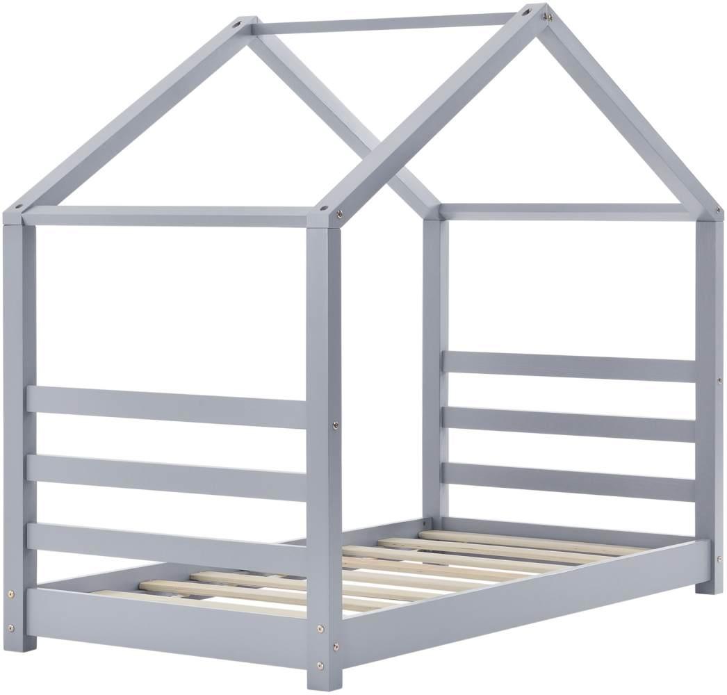 en.casa Hausbett 80x160cm Grau, inkl. Lattenrost und Matratze Bild 1