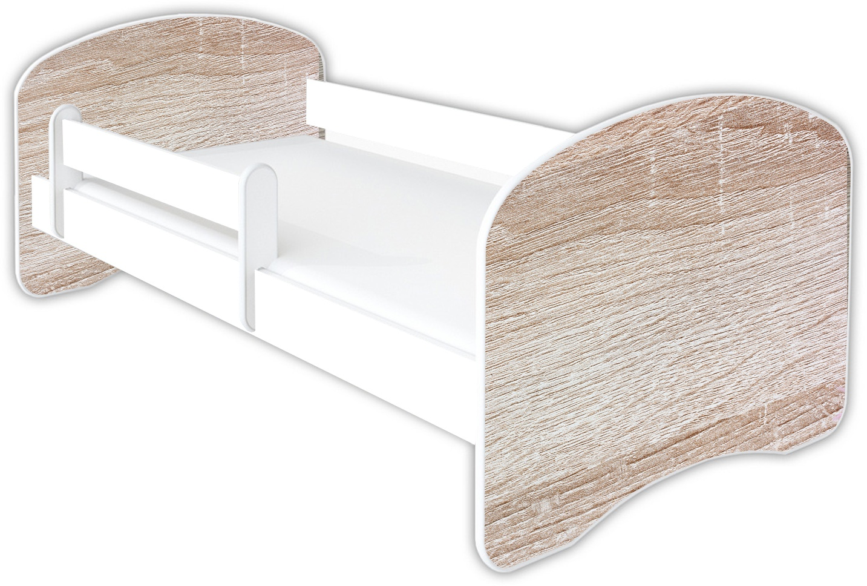 Clamaro 'Schlummerland Dekor' Kinderbett 70x140 cm, Design 21, inkl. Lattenrost, Matratze und Rausfallschutz (ohne Schublade) Bild 1