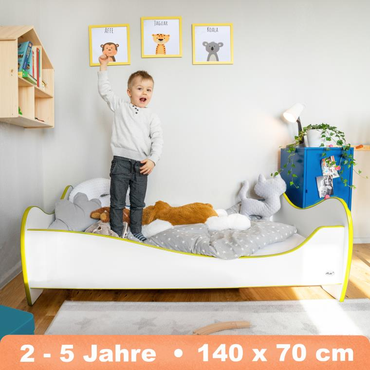 Alcube 'Swinging Yellow Edge' Kinderbett 140x70 cm mit Rausfallschutz, weiß Bild 1