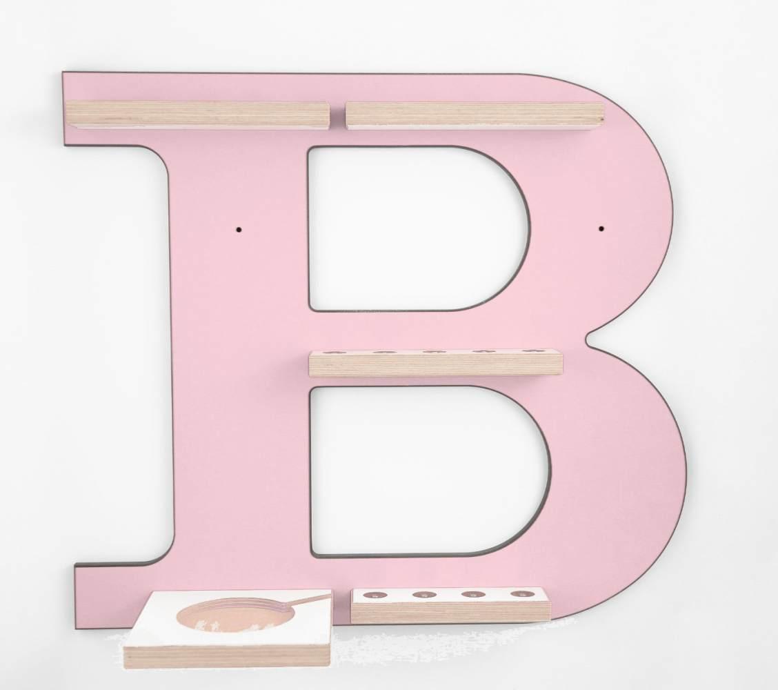 Schreinerei Linden 'Buchstabe B' Tonie Regal mit Musikboxhalter, rosa Bild 1