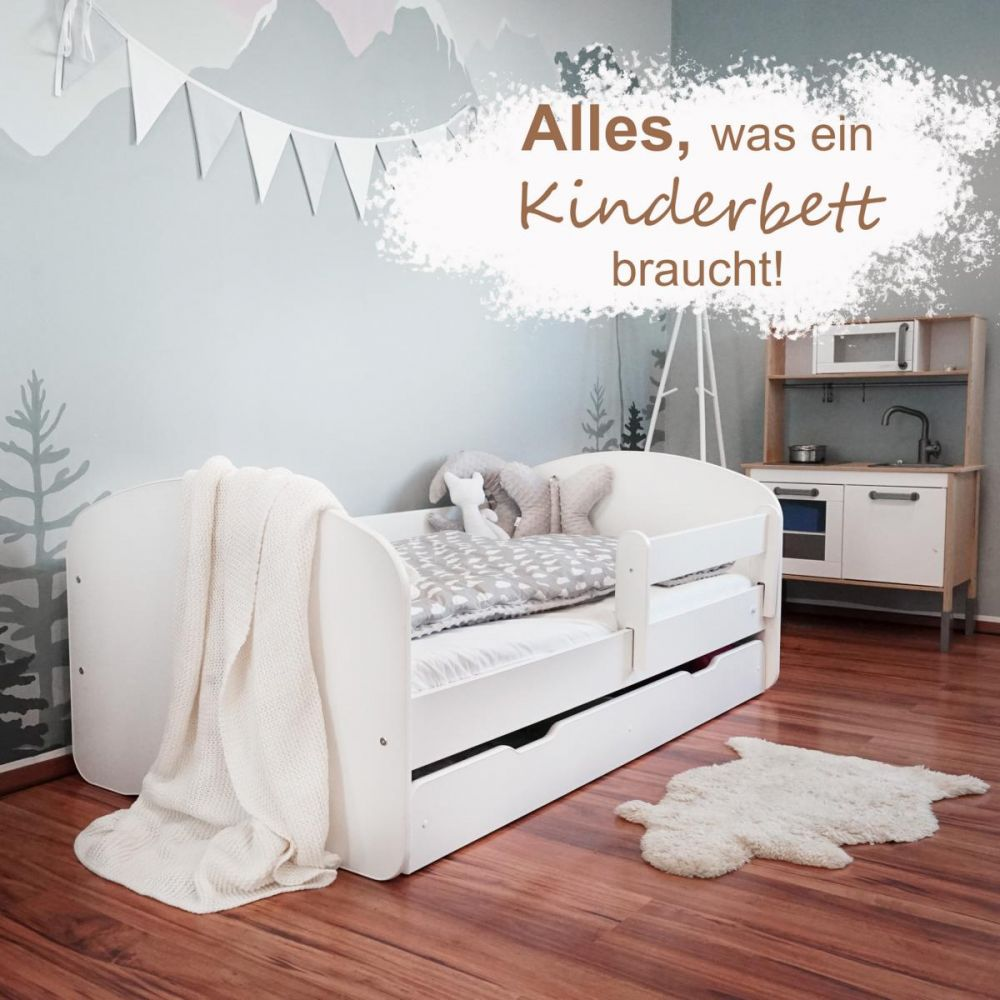 Alcube 'Oskar' Kinderbett 70x140 cm mit Rausfallschutz, Lattenrost, Matratze und Schublade, weiß Bild 1