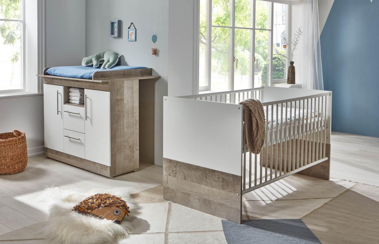 Arthur Berndt 'Selina' Babyzimmer Sparset 2-teilig, Kinderbett (70 x 140 cm) und Wickelkommode mit Wickelaufsatz Platinum Oak / Weiß Bild 1