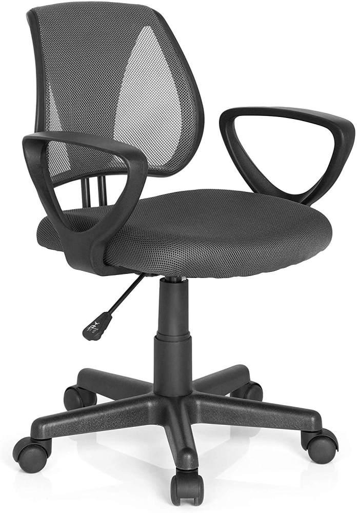 hjh OFFICE 725102 Kinder- und Jugenddrehstuhl KIDDY CD Netzstoff Grau höhenverstellbarer Schreibtischstuhl mit Armlehnen Bild 1