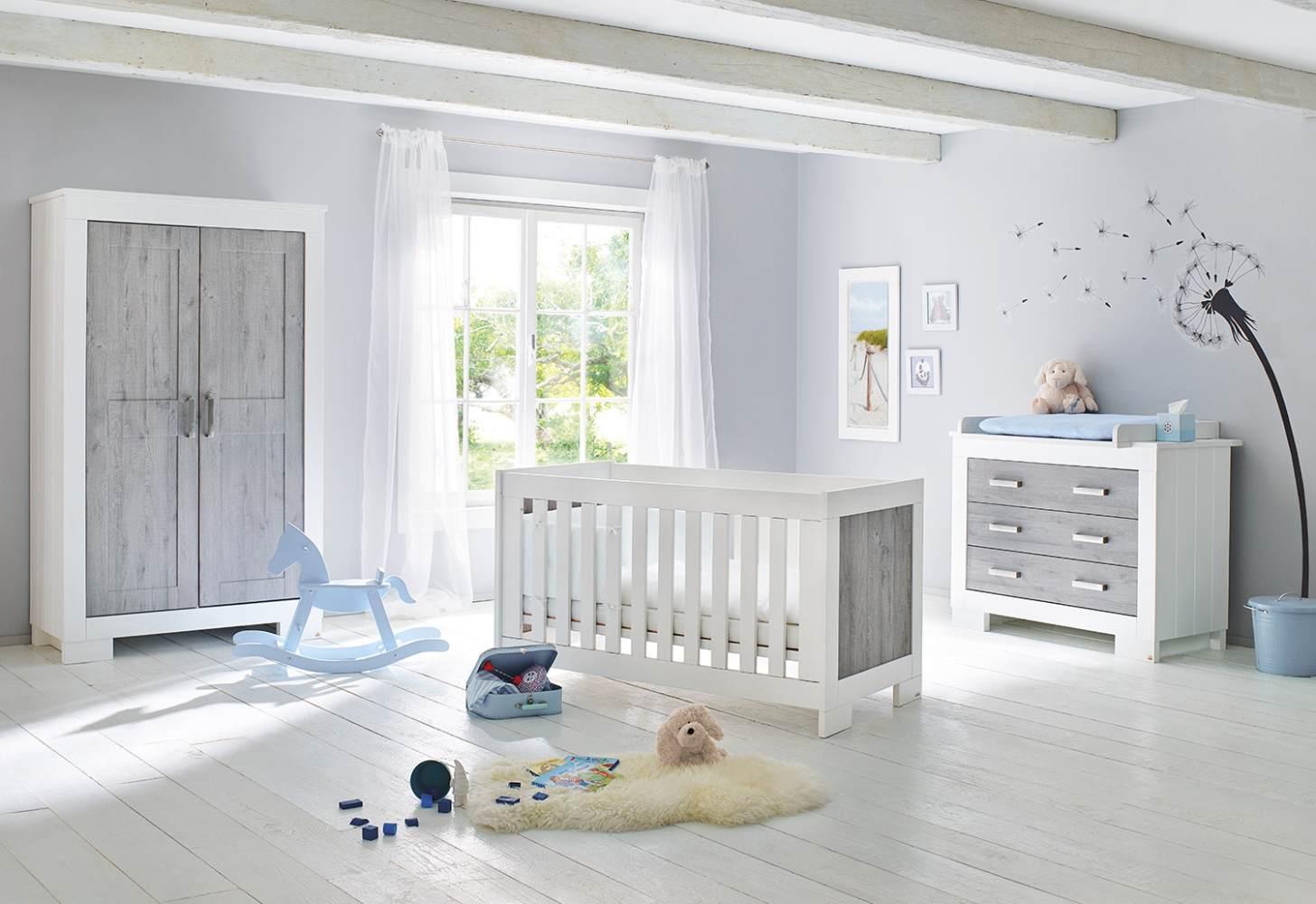 Pinolino 'Lolle' 3-tlg. Babyzimmer-Set grau/weiß Bild 1