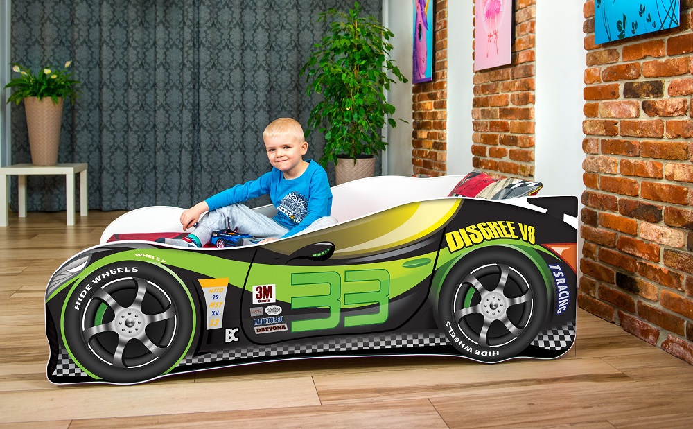 Lux4Kids 'Delfin' Autobett 70x140 cm, 33 Black Green, mit Matratze und Lattenrost Bild 1