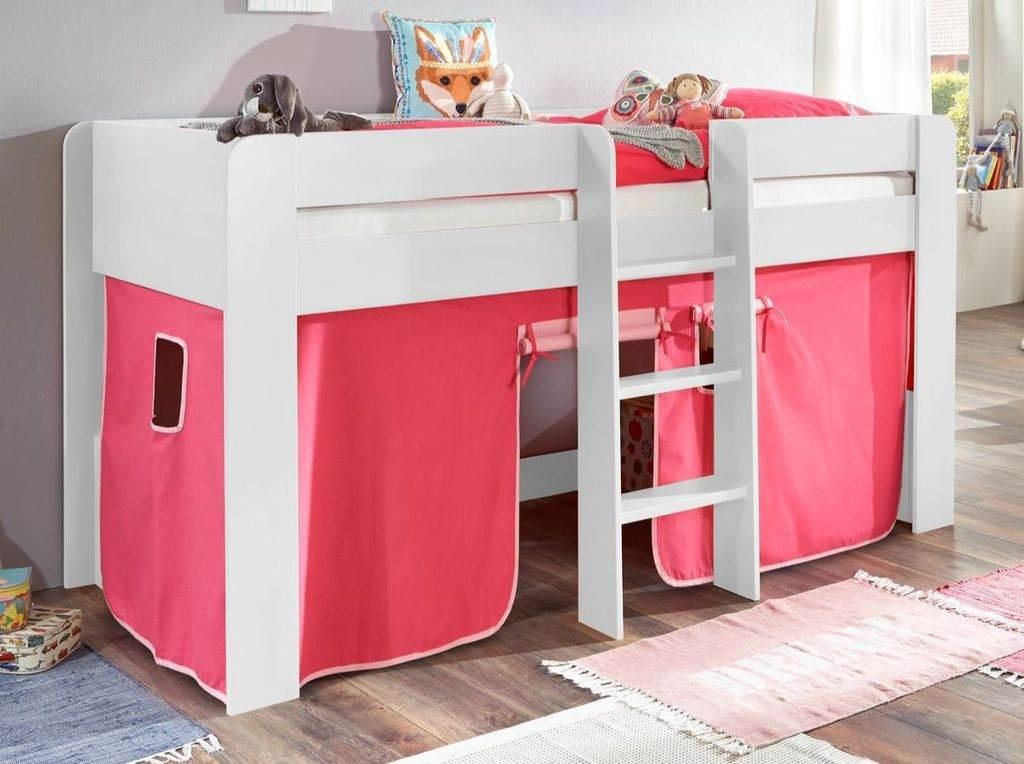Relita 'Andi' Halbhochbett weiß, inkl. Matratze und Vorhang 'Pink/Rosa' Bild 1