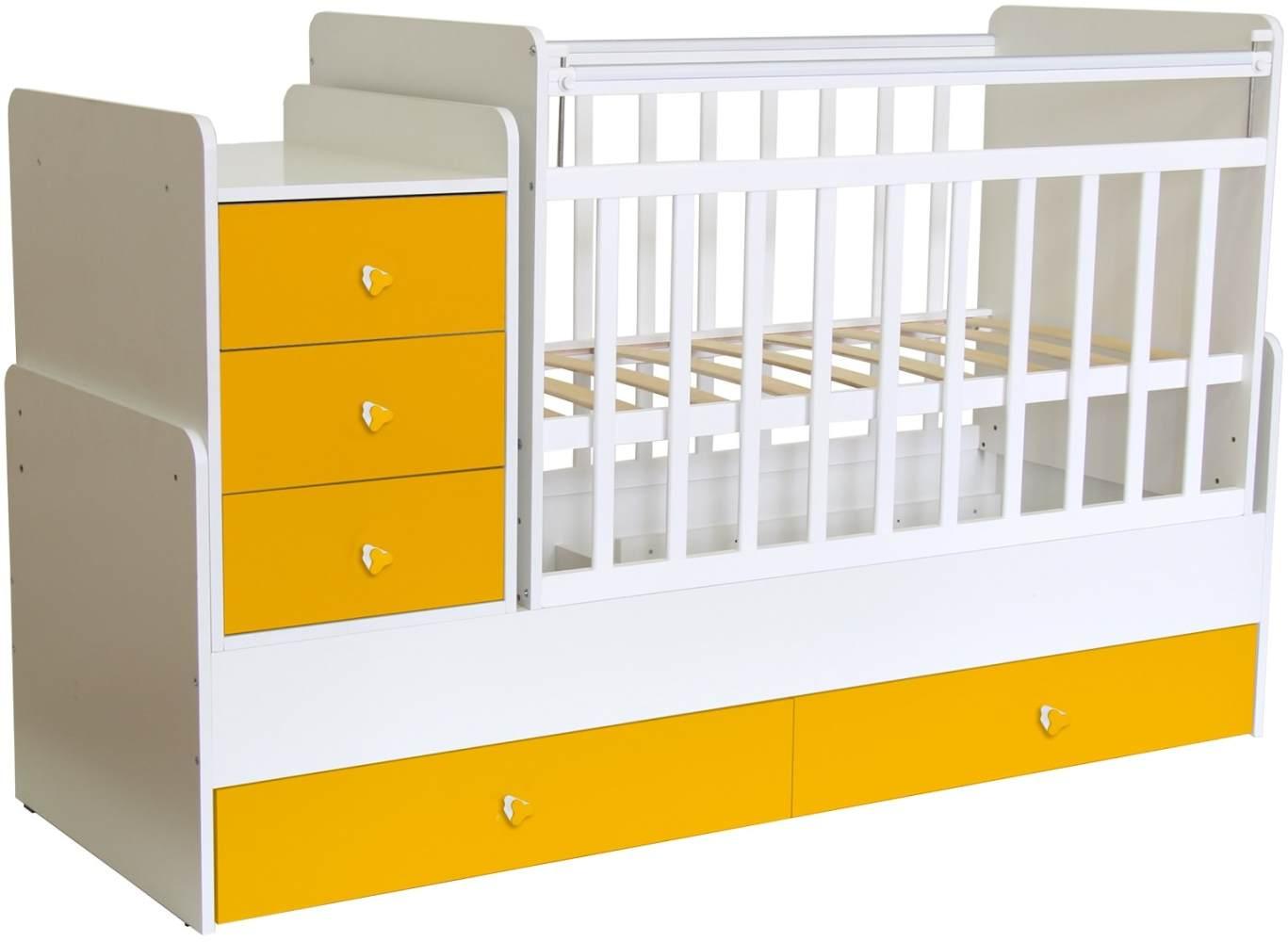 Polini Kids 'Simple 1100' Kombi-Kinderbett 60 x 120/170 cm, weiß/gelb, höhenverstellbar, mit Schaukelfunktion, inkl. Kommode Bild 1