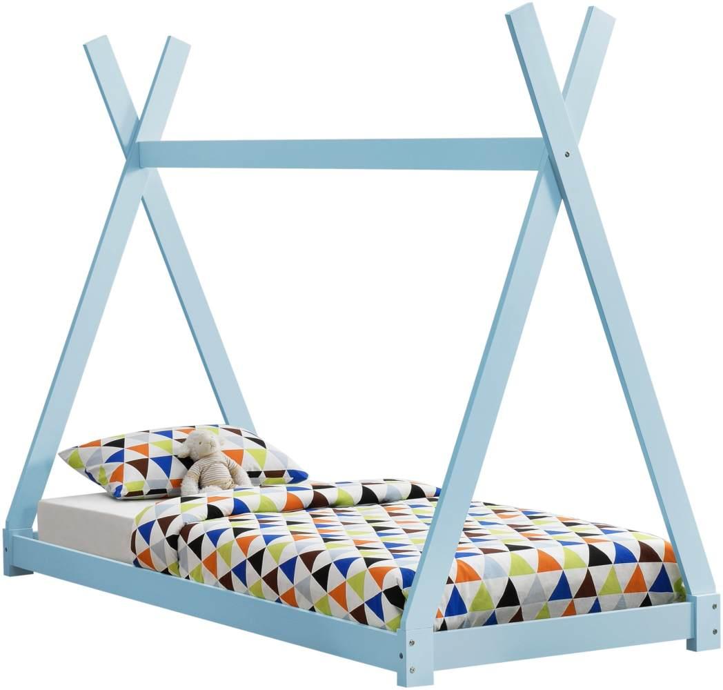 en.casa Tipi-Bett blau, 90x200 cm, inkl. Lattenrost Bild 1