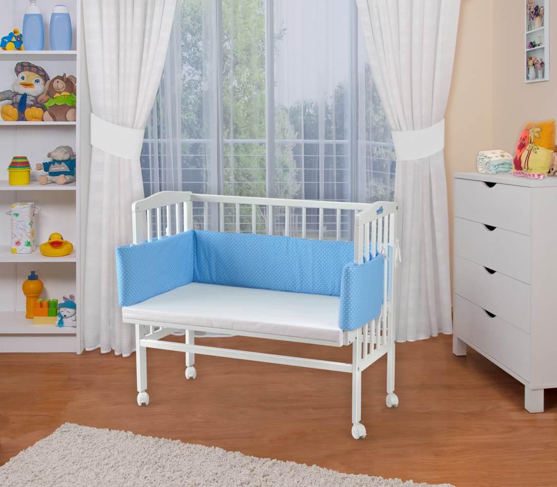 WALDIN Beistellbett mit Matratze, höhenverstellbar, Große Liegefläche, Ausstattung Punkte-blau, Gestell Weiß lackiert Bild 1