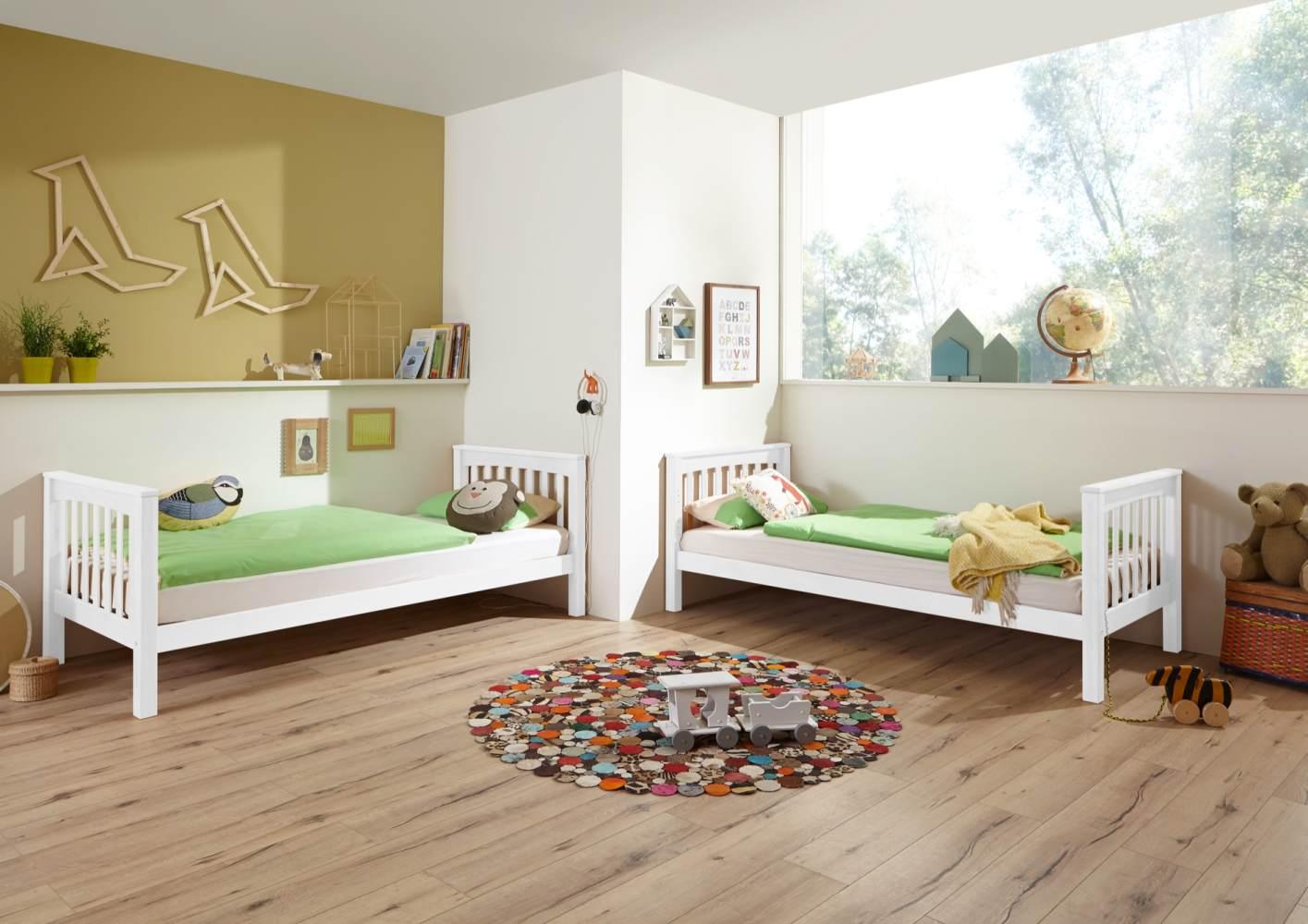 Etagenbett Kinderbett Kick 90x200 cm Buche massiv Weiß Bild 1