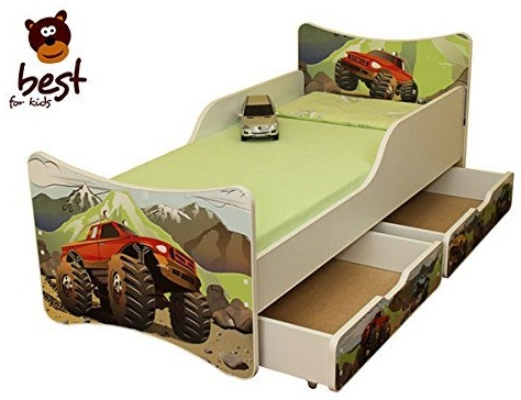Best for Kids 'Auto' Kinderbett mit Schaummatratze 90x180 MIT Zwei SCHUBLADEN grün Bild 1