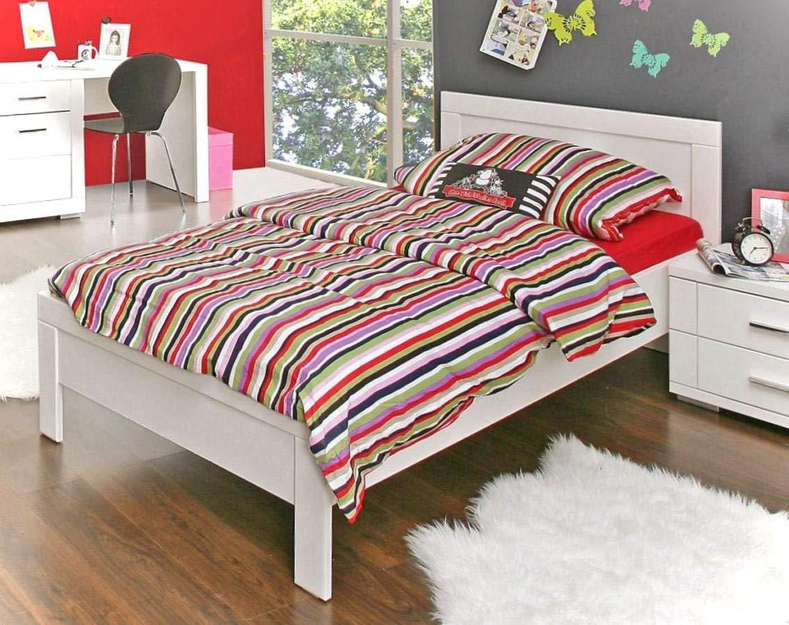 Jugendbett Snow Bett 90 x 200 cm, Einzelbett in Weiß matt, von Forte Bild 1