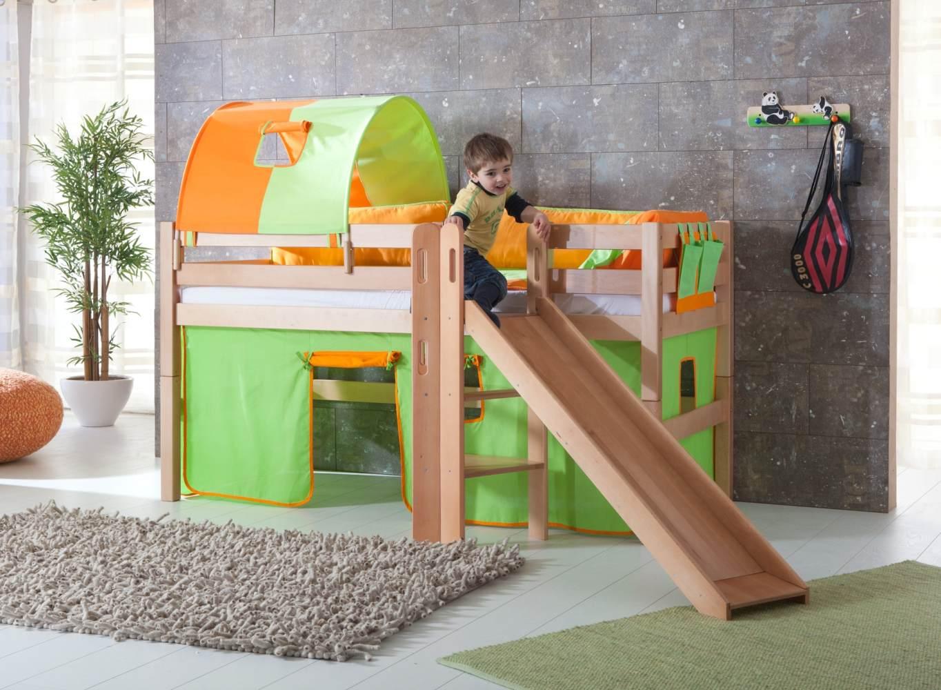 Relita 'Eliyas' Spielbett natur inkl. Rutsche und Textilset Vorhang, 1-er Tunnel und Tasche 'grün/orange' Bild 1