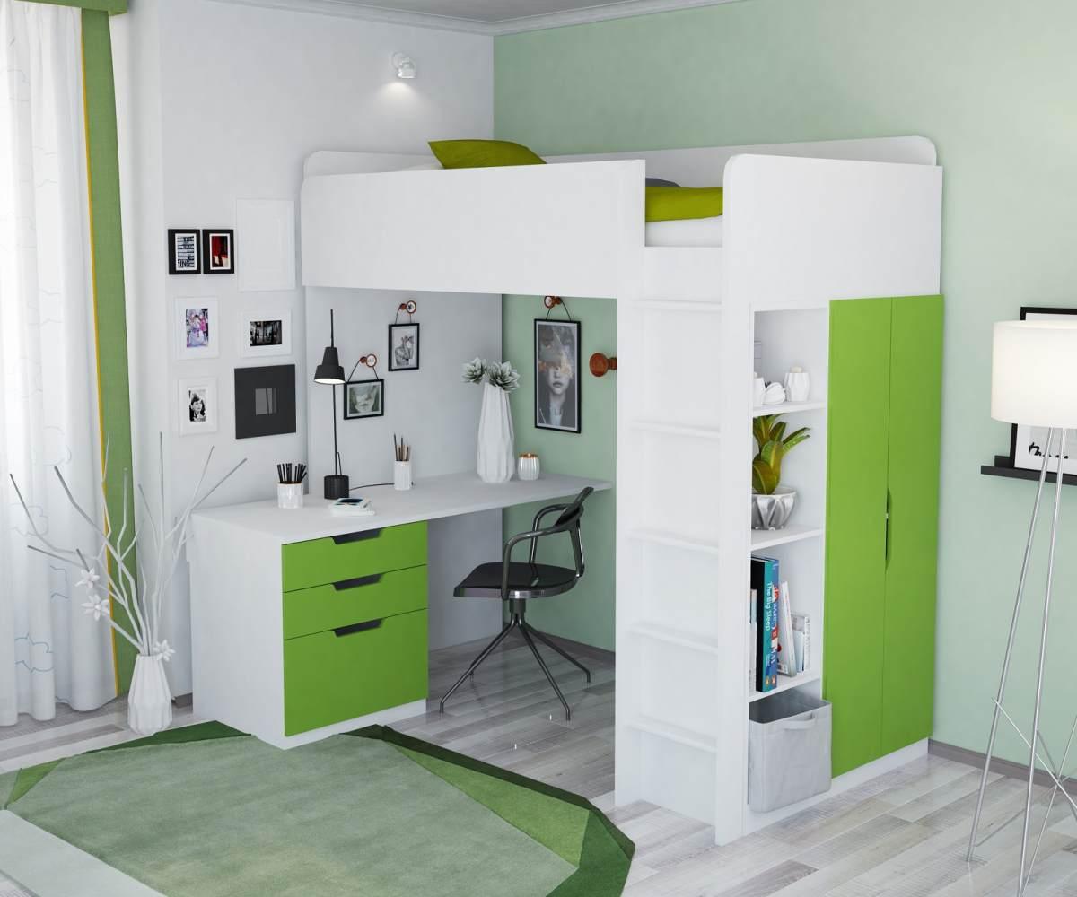 Polini Kids Funktions-Hochbett, weiß/grün inkl. Kleiderschrank und Schreibtisch Bild 1
