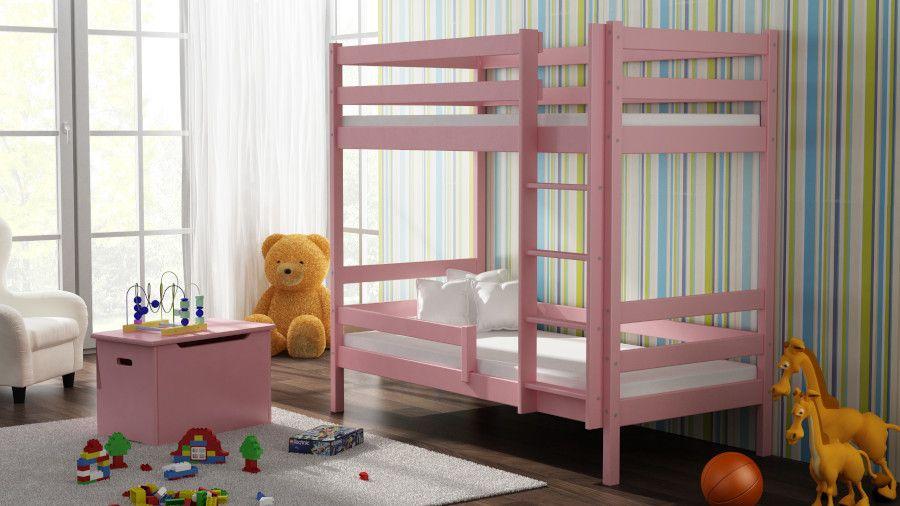 Kinderbettenwelt 'Peter' Etagenbett 80x160 cm, rosa, Kiefer massiv, inkl. Lattenroste Bild 1