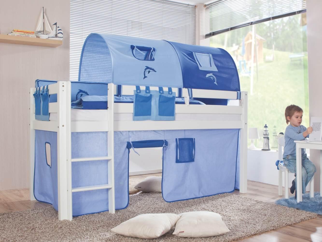 Relita Halbhohes Spielbett ALEX Buche massiv weiß lackiert mit Stoffset blau/delfin Bild 1