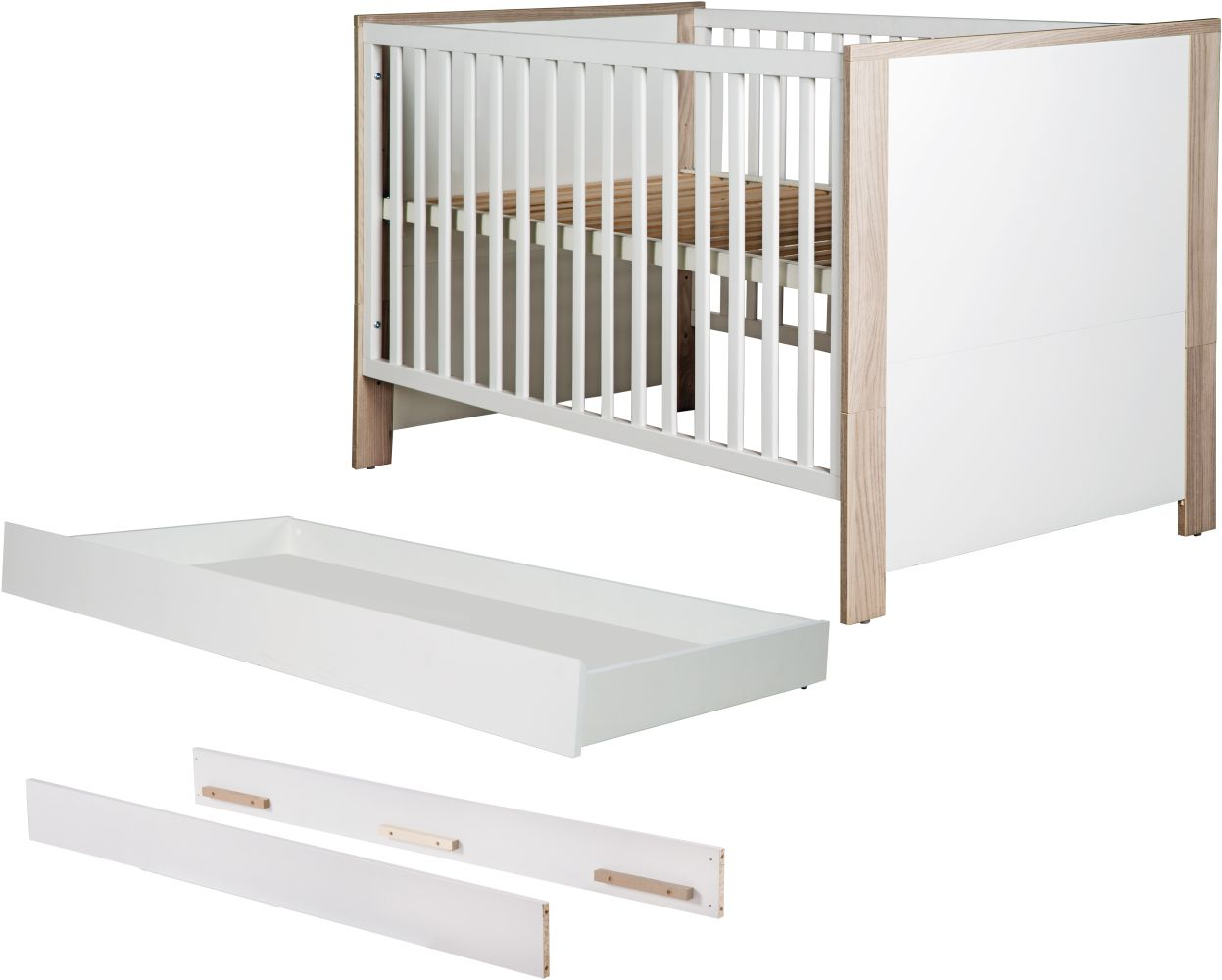 Roba 'Olaf' Kombi-Kinderbett 70x140cm, Luna Elm/weiß, 3-fach höhenverstellbar, 3 Schlupfsprossen, umbaubar, inkl. Bettschublade und Umbauseiten Bild 1