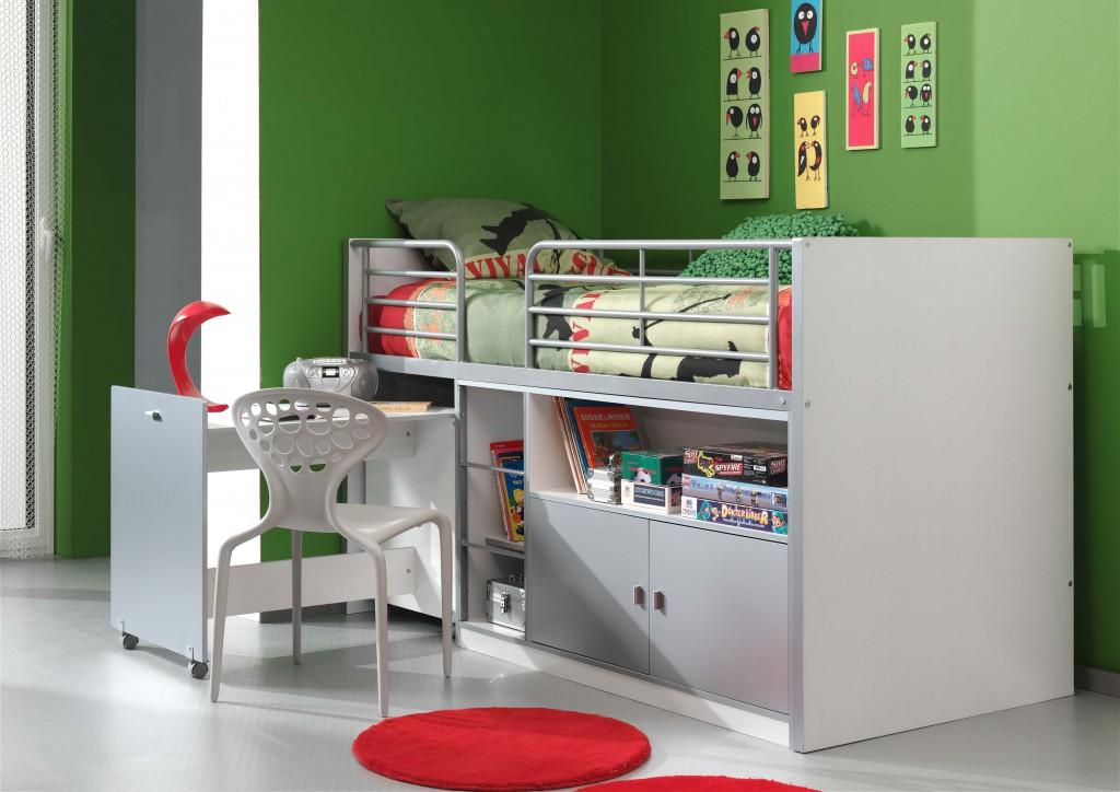 Kinderbett Jugendbett Bonny 90 x 200 cm Weiß / Silbergrau, inkl. Matratze Basic Bild 1