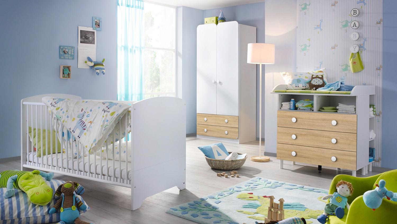 Rauch 3-tlg. Babyzimmer-Set 'FILIPO' weiß/eiche sonoma Bild 1