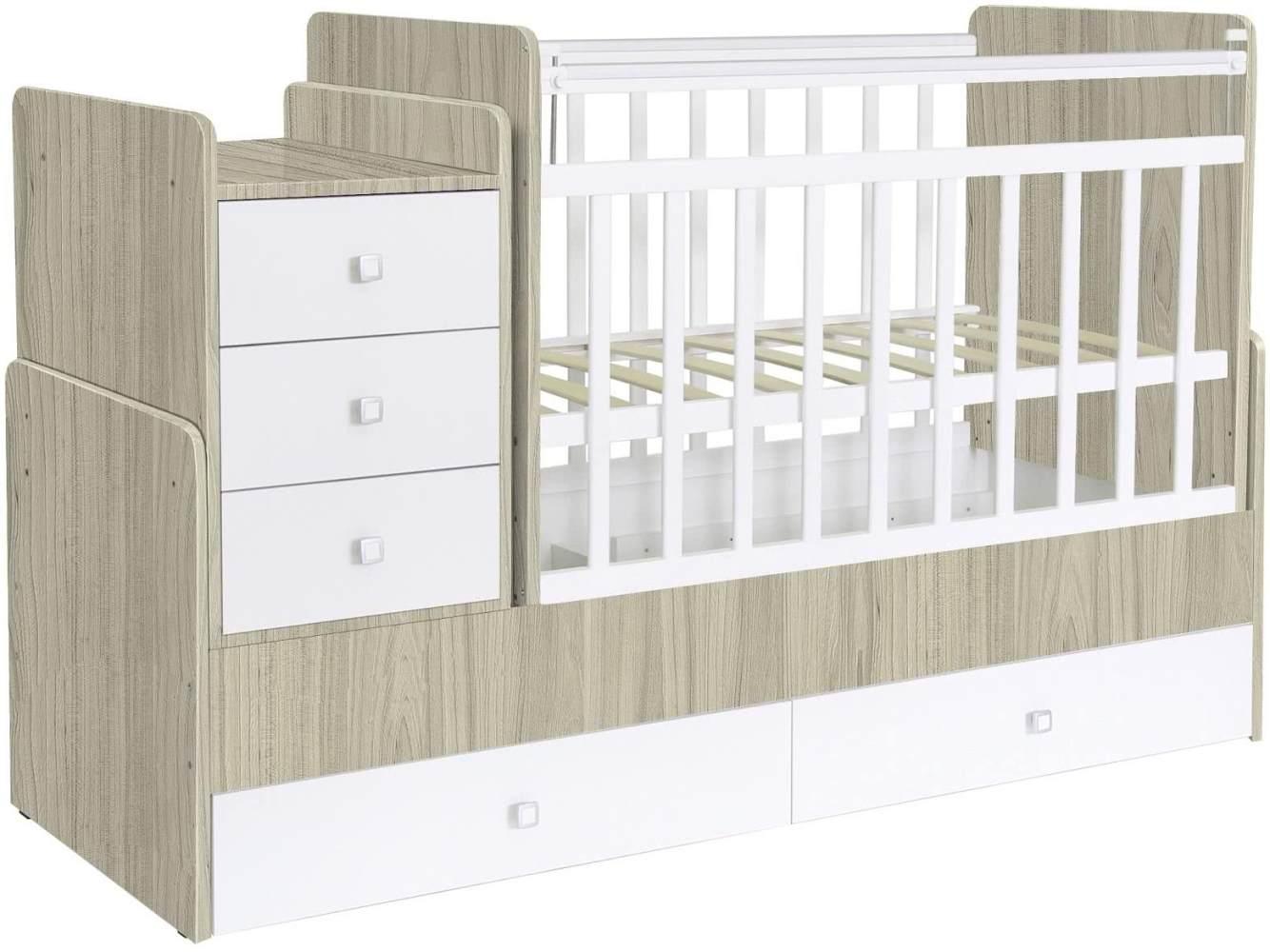 Polini Kids 'Simple 1100' Kombi-Kinderbett 60 x 120/170 cm, ulme/weiß, höhenverstellbar, mit Schaukelfunktion, inkl. Kommode Bild 1