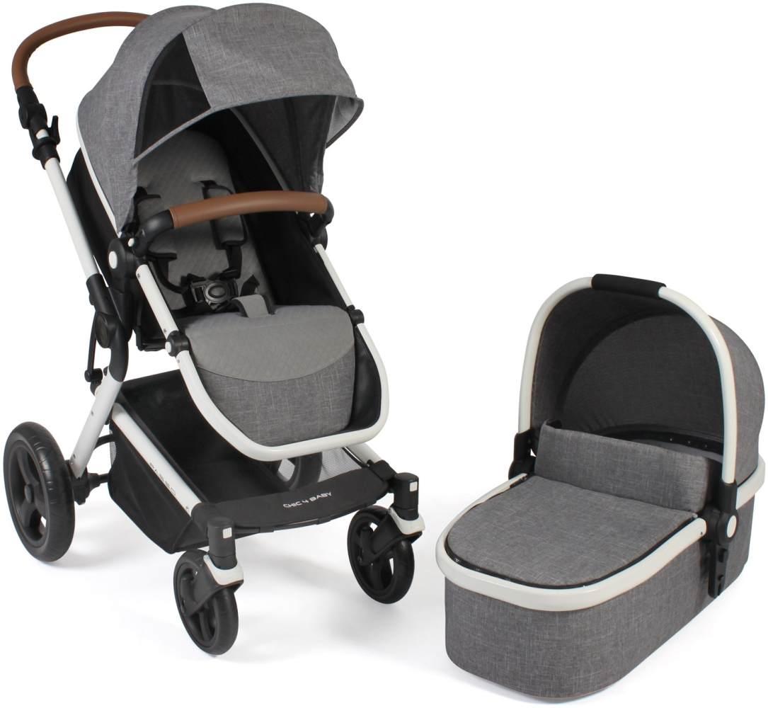 Chic 4 Baby Kombi-Kinderwagen 2 in 1 Passo Melange grau-weiß Bild 1