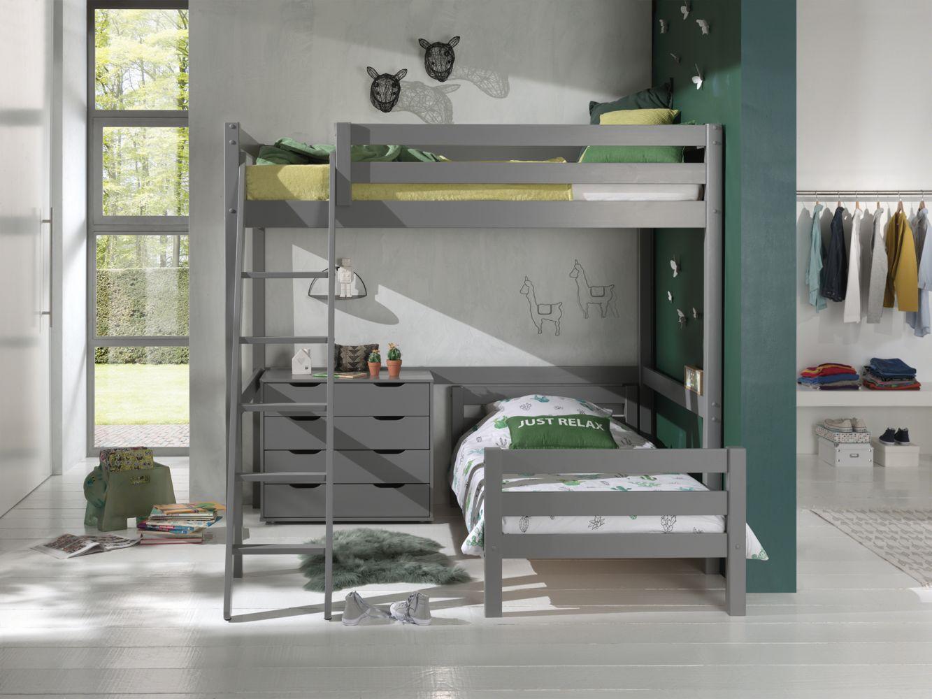 Vipack Winkel Hochbett mit 2 Liegeflächen 140/90 x 200 cm und Schubladen Kommode, Ausf. grau lackiert Bild 1